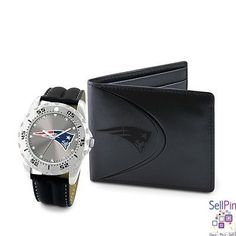 : New England Patriots Watch-Wallet Combo Set for Men or a Woman can wear the watch