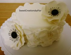 Fluted billowing cake with Anemone — Anniversary Cakes