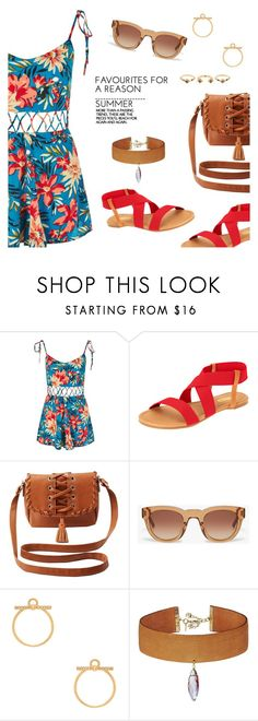 """Summer Style"" by dressedbyrose ❤ liked on Polyvore featuring Topshop, Floopi, Charlotte Russe, Sun Buddies, Rebecca Minkoff, Vanessa Mooney, House of Harlow 1960, ootd and polyvoreeditorial"
