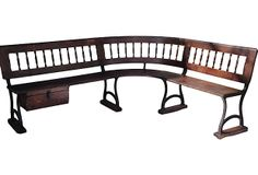 """Antique Train Station Bench on OneKingsLane.com described by Oyster White Interiors Rare antique all original train station L-shaped bench with cast iron stretchers. Seat, 17""""H."""