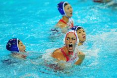 Maria Garcia Godoy of Spain celebrates as she scores a goal during the Women's Water Polo Preliminary match between Spain and China on Day 3 of the London 2012 Olympic Games at Water Polo Arena on July 30, 2012 in London, England.