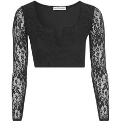**Long Sleeve Lace Crop Top by Rare ($33) ❤ liked on Polyvore featuring tops, black, goth top, black top, plunge crop top, lace crop top and goth crop top
