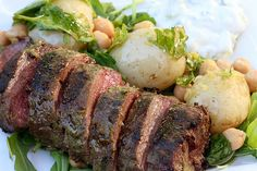 Chargriled lamb with lemon potatoes and tzatziki by The Second Pancake, via Flickr