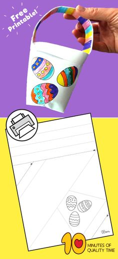 DIY Paper Easter Basket for Kids - 10 Minutes of Quality Time Cool Paper Crafts, Easy Arts And Crafts, Craft Stick Crafts, Crafts To Do, Diy Paper, Jar Crafts, Bottle Crafts, Animal Crafts For Kids, Easter Crafts For Kids