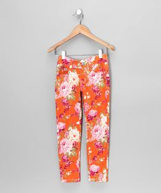 Take a look at this Orange Floral Skinny Jeans by StylO on #zulily today!