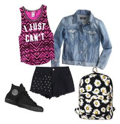 """Untitled #31"" by megsgalley on Polyvore featuring J.Crew, Victoria's Secret PINK, Converse, Motel, women's clothing, women's fashion, women, female, woman and misses"