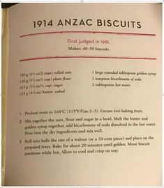 If anyone would like the CWA 1914 recipe for ANZAC biscuits, yearn no more. It's from Jam Drops and Marble Cake Aussie Food, Australian Food, Australian Recipes, Biscuit Cookies, Biscuit Recipe, Galletas Cookies, Vintage Recipes, No Bake Desserts, Cookies