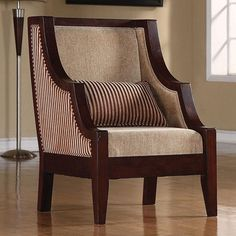 New Striped Upholstery Accent Chair with Exposed Wood from Coaster  #Coaster #Contemporary $349.99