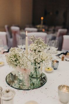 Wedding of the Week: Rebecca Garson and Steve Roper at Athelhampton, Dorchester | Gypsophila table centres | bridemagazine.co.uk