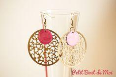 Boucles d'oreilles fantaisie rose fushia et bronze : Boucles d'oreille par petit-bout-de-moi