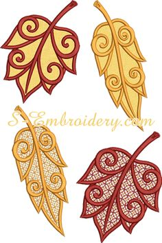 SKU 10623 Autumn leaves cutwork lace and applique set - A set of 2 autumn leaves machine embroidery designs Embroidery Leaf, Machine Embroidery Patterns, Lacey Pattern, Cutwork, Autumn Leaves, Sewing, Crochet, Crafts, Beadwork