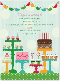 Birthday Party Invitation - Sweet Spread:Hunter Green