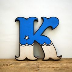 Retro Vintage Style Blue and White Carnival Circus Style Wood Letter K Handmade