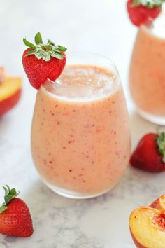 Strawberry Peach Smoothie - a healthy and delicious dairy-free smoothie recipe made with summertime fruits.