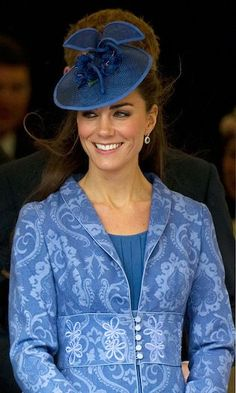Kate Middleton fascinators: In a church service to mark Prince Philip's birthday, Kate donned a Philip Treacy chapeau, which perfectly matched her blue Brocade coat. Kate Middleton Outfits, Kate Middleton Style, Prince William And Catherine, William Kate, Prince Philip, Duke And Duchess, Duchess Of Cambridge, Diana, Princesa Kate