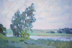 Trees near Lake, oil on canvas on board, 20 x 30 cm, (9″ x 12″), $ 550