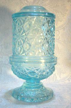 MOSSER? 2-PC. AQUA BLUE FAIRY LAMP W/CUT GLASS STAR PATTERN-6-1/4 INCHES HEIGHT #MOSSER