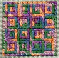 log cabin needlepoint quilt using caron watercolours, designed by peg dunayer, stitched by janet perry