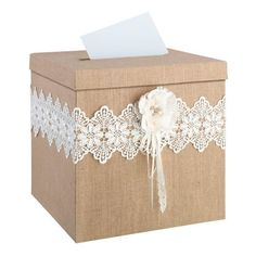 Burlap and lace with a rhinestone filled, hand crafted paper flower make this the perfect card box for a rustic wedding. Lid has a slot to place cards.