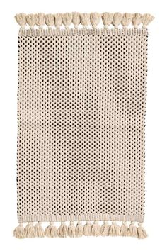 Jacquard-weave bath mat - Natural white/Anthracite grey - Home All | H&M
