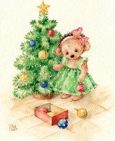 xmas teddy girl- Inga Izmaylova