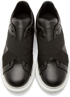 Alexander McQueen Black Leather Elastic Sneakers