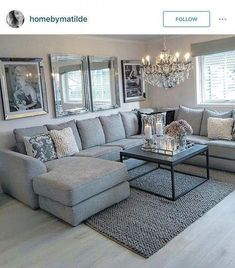 New living room sectional ideas tips 32 ideas Living Room Decor Cozy, Elegant Living Room, Living Room Grey, Home Living Room, Living Room Designs, Living Room Furniture Sets, Apartment Living, Casa Disney, Living Room Sectional