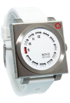 NOVO Watch the UNKNOWN Silver and White Mens Sports Watch Square Stainless Steel Case with White Face Red Dial and White Poly Strap NOVO watch,http://www.amazon.com/dp/B00FR6YNMI/ref=cm_sw_r_pi_dp_3inltb1EGZDQDVTX