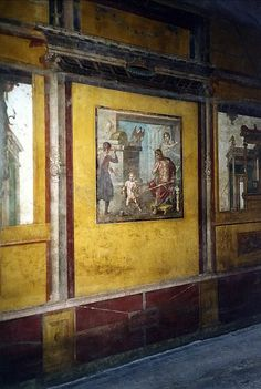 Hercules as a child - Wall painting in the Casa dei Vettii (oecus triclinium) at Pompeii.