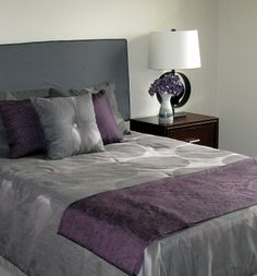 #home #staging by #www.creativehomestaging.ca in #Calgary. You can give your neutral bedding a different look by adding different colored accessories.
