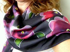 Silk Scarves and Art Panels , New Zealand hand made Black Peony, Purple And Black, Love You Mum, Panel Art, Outdoor Art, Silk Painting, Silk Scarves, Bird Art, Pure Silk
