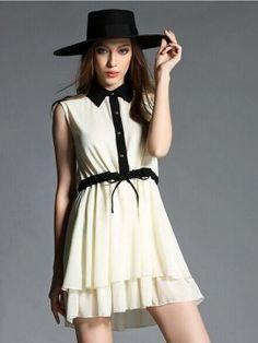 Beige Sleeveless Contrast Collar Drawstring Waist Layered Bottom Dress from choies.com $20.99
