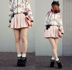 Black kitty in girly style (by Shan  Shan) http://lookbook.nu/look/4109268-black-kitty-in-girly-style