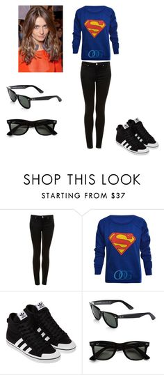 """Tenue 1#"" by yaya-kagamine ❤ liked on Polyvore featuring Topshop, adidas and Ray-Ban"