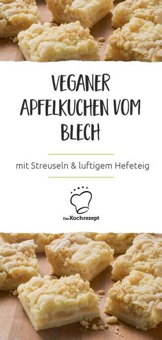 Veganer Apfelkuchen vom Blech From tin, vegan and delicious above ground: the apple pie is well received by everyone, because who doesn't love crumble and airy yeast dough? The apple layer is wonderfully fruity and juicy … A tasty gourmet! Desserts Végétaliens, Vegan Dessert Recipes, Vegan Sweets, Baking Recipes, Cake Recipes, Snacks Sains, Savoury Cake, Going Vegan, Clean Eating Snacks