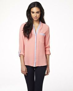 Roll-up sleeve blouse with denim details RW&CO. Spring 2014 Collection