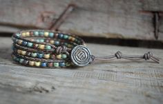 Beaded Leather Wrap Bracelet, Boho Style Wrap Bracelet, Wrap Bracelet, Beaded Triple Wrap Bracelet, Leather Wrap Bracelet, Handmade Bracelet