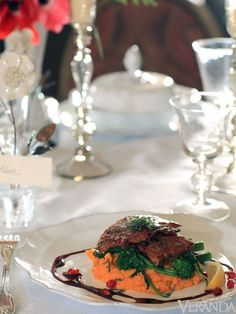 The Main Course: Veal Saltimbocca with Pomegranate Sauce, Broccoli Rabe and Sweet Potato Mash Dried Potatoes, Mashed Sweet Potatoes, Valentines Day Dinner, Holiday Dinner, Veal Saltimbocca, Pomegranate Sauce, Veal Cutlet, Potato Puree, Dinner Menu