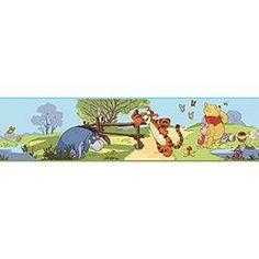Adesivo de Parede Winnie the Pooh Pooh & Friends Borda Roommates Amarelo/Laranja/Azul  (12,7x4,57cm)
