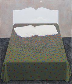 Bed II - Kimmo Kaivanto, Finnish, Oil on canvas 162 x 139 cm. Bukowski, Oil On Canvas, Auction, Fine Art, Drawings, Interior, Painting, Inspiration, Furniture