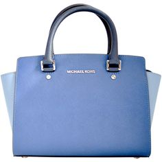 Michael Kors Bags ($295) ❤ liked on Polyvore featuring bags, handbags, shoulder bags, blu, michael kors shoulder bag, blue leather handbag, michael kors purses, genuine leather shoulder bag and top handle leather handbags
