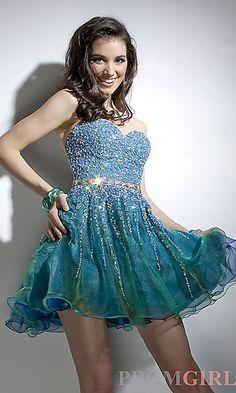 Short Strapless Beaded Dress at PromGirl.com