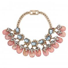 MAWI PRINCESS Flower gemstone necklace with crystal leaves and teardrops