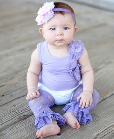 Soo cute. My baby needs these in every color!RuffleButts.com - Lavender Lace Ruffled Leggings