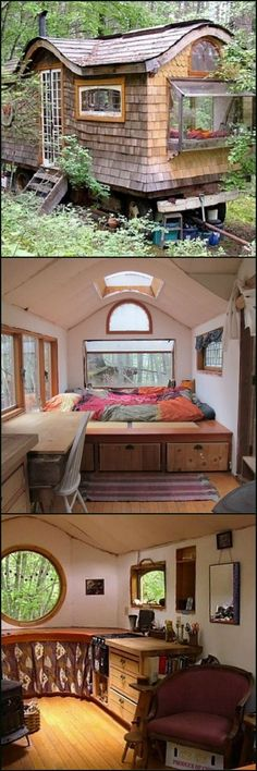 This tiny home on wheels is a modern take on those wonderful gypsy wagon one still sees in parts of Europe. Take a tour by viewing the full gallery on our site at http://theownerbuildernetwork.co/ogq3 It can be used as a tiny home, a weekend cabin, or even as a home office if you choose to set it in your own yard. Could you live in a gypsy wagon?: