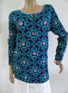 NWT Jones New York Peacock Multi Henley Long Sleeve Top Woman Plus Sz 1X   #JonesNewYork #KnitTop #Casual