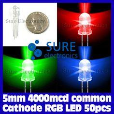 50pcs 5mm 4000mcd Common Cathode RGB LED | eBay