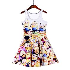 NEW 1168 Sexy Girl Women Summer Despicable Me Cute Minions 3D Prints Vest Reversible Sleeveless Skater Pleated Dress