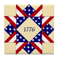 1776 Patriotic Quilt Pattern Tile Coaster by Mugs and More - CafePress Flag Quilt, Patriotic Quilts, Star Quilt Blocks, Star Quilts, Camo Quilt, Barn Quilt Designs, Barn Quilt Patterns, Pattern Blocks, Quilting Designs