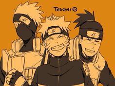 Kakashi, Naruto and Iruka Naruto Kakashi, Anime Naruto, Naruto Cute, Naruto Shippuden Sasuke, Shikamaru, Otaku Anime, Naruto's Dad, Naruto Family, Uzumaki Family